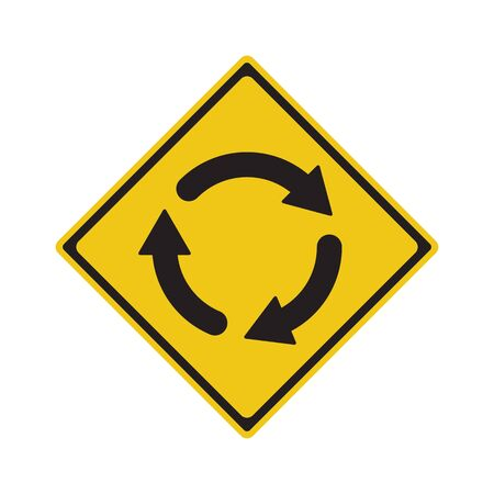 Panneau de signalisation rond-point Ahead symbole Vector Illustration Vecteurs