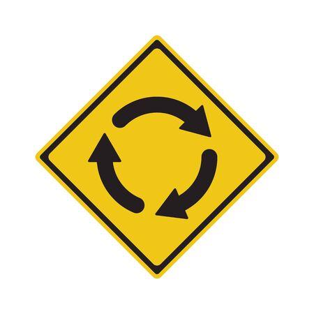 Traffic Sign Roundabout Ahead Symbol Vector Illustration Vector Illustration