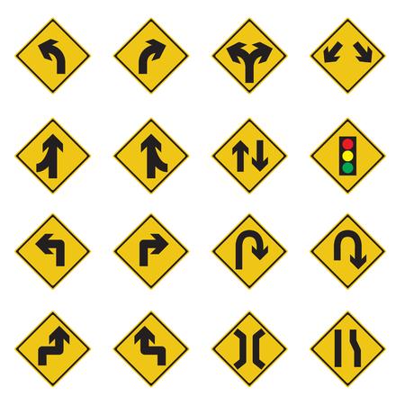 danger ahead: Traffic Sign Yellow Set Vector Illustration