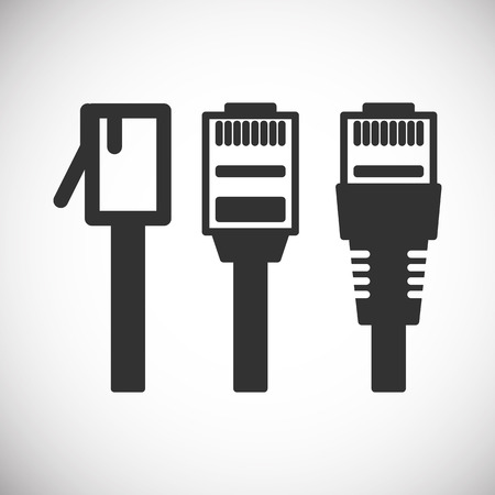 Lan  Wire Cable Plug Computer Icon Illustration