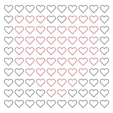 Heart Red Background Pattern Vector Illustration