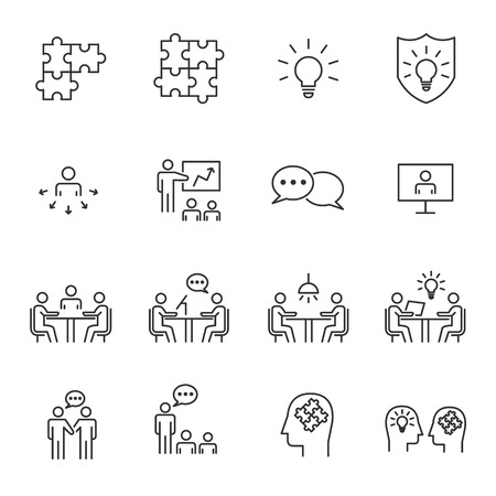 People Business Vector Line Icons ,Work Group Team , Business Meeting Communication. Illusztráció