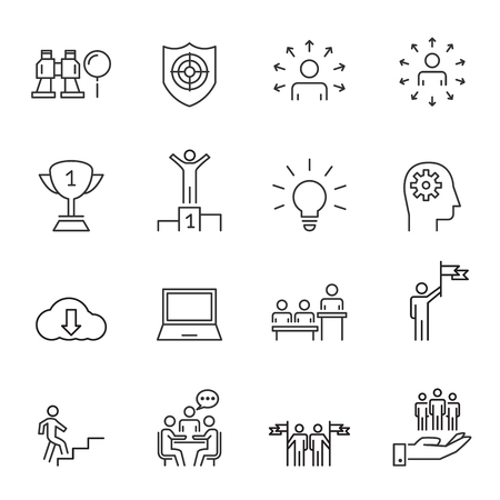 People Business Vector Line Icons ,Work Group Team , Business Success Meeting Communication.