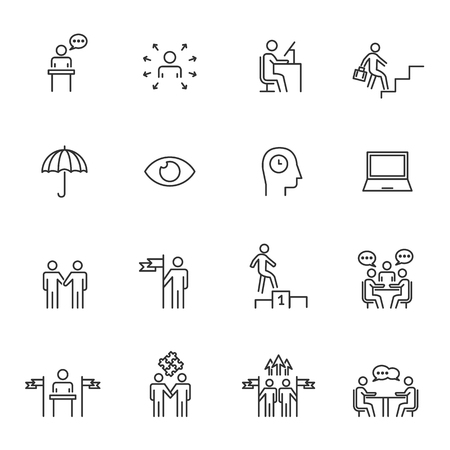 People Icons Line Work Group Team Business Vector Illustration