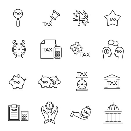 Tax icon silhouette vector set.