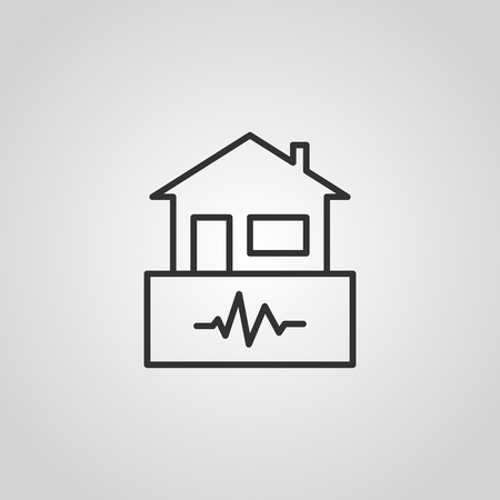 Earthquake Icon . Line symbol vector illustration 일러스트