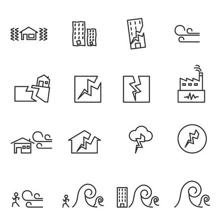 Earthquake Icon . Line symbol vector illustration Illustration