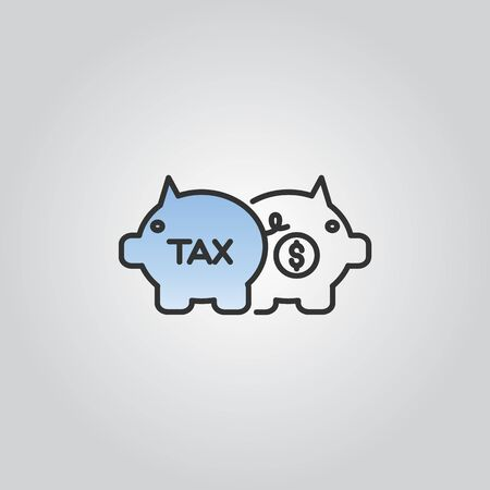 Tax icon with piggy bank silhouette vector