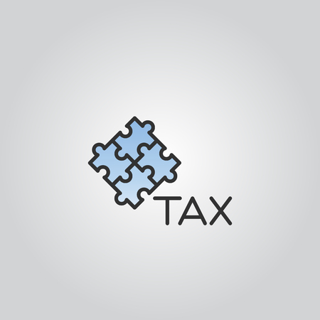 Tax icon with puzzle pieces silhouette vector