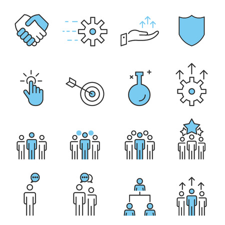 People Icons Line Work Group Team Vector illustration.