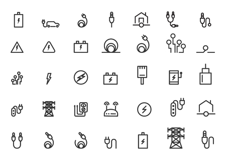 Ilustración de vector de iconos de cable