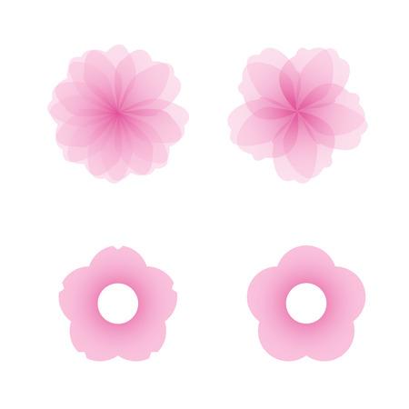 Sakura flowers icon set , cherry blossom vector illustration