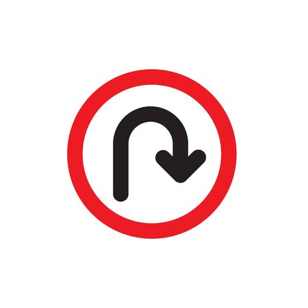 U-turn  Sign. Vector illustrations Vettoriali