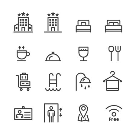 hotel icons. line vector Banque d'images - 129782310