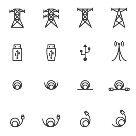 cable icons, vector illustration