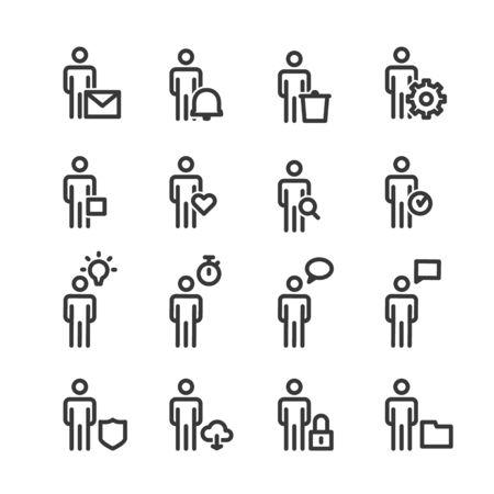 People Line Icons Business Vector Иллюстрация