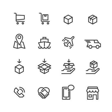 shopping online icon line vector Stock Illustratie
