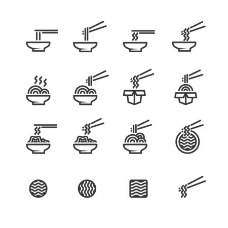 noodle icon line set vector