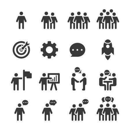 Iconos de personas, vector de equipo de grupo de trabajo de persona Ilustración de vector