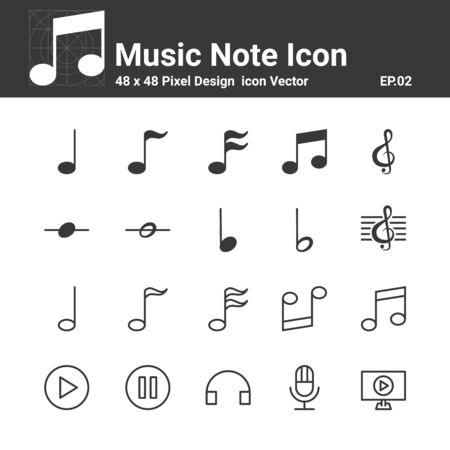 Music Note Icons Vector , Symbol Perfect Design Simple Set For Using In Web site Infographics Logo Report ,  Vector illustration Ilustração
