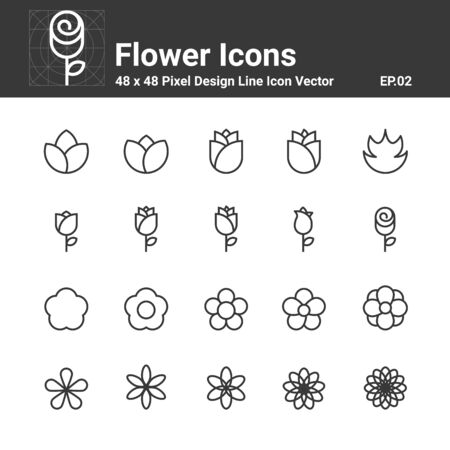 Flower Icons, Symbol Perfect Design Simple Set For Using In Website Infographics Logo Report, Line Icon Vector illustration Stok Fotoğraf - 139468492