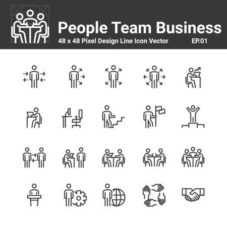 Menschen Symbol Arbeitsgruppe Team Vektor, Geschäftsperson Menschenmenge Symbol Perfektes Design Einfaches Set Für Die Verwendung In Website Infografik Bericht, Linie Vektor Illustration Vektorgrafik