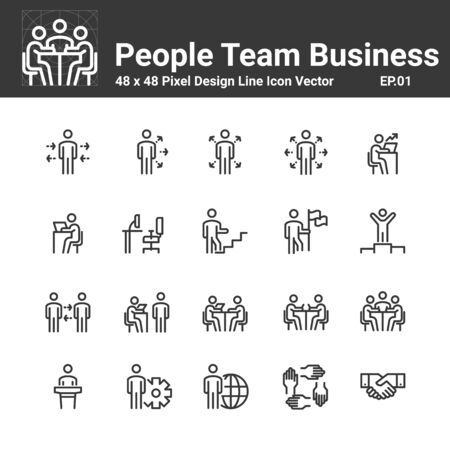 People Icon work group Team Vector, Business Person Crowd Symbol Perfect Design Simple Set For Using In Web Site Infographic Report, Line Vector Illustration Vector Illustratie