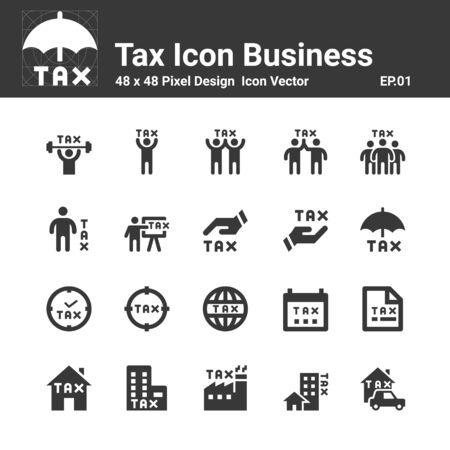 Tax Icon silhouette vector set