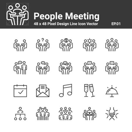Meeting Icon Business People Vector, Symbol Perfect Design Simple Set For Using In Website Logo Infographic Report, Line Vector Illustration