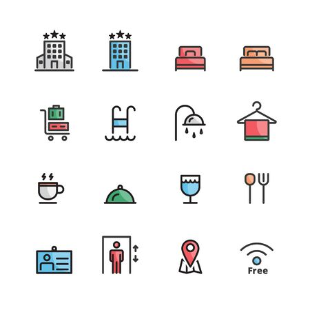 hotel icons line color set vector