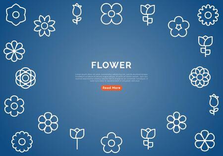 Flower Banner With Line Icons on Blue Background. Minimal Design Vector Illustration