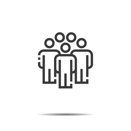People Icon Omission Line Work Group Team Vector