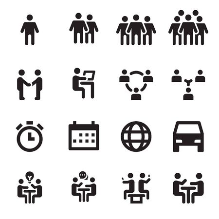 Collection Set of Meeting Icons Vector Illustration, Teamwork, Business Workplace, People, Talk Ilustración de vector