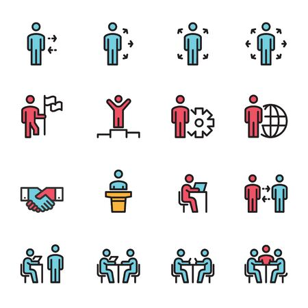 Collection Set of  People Icons Line Color Work Group Team Vector , Meeting , Teamwork , Businessman Ilustrace