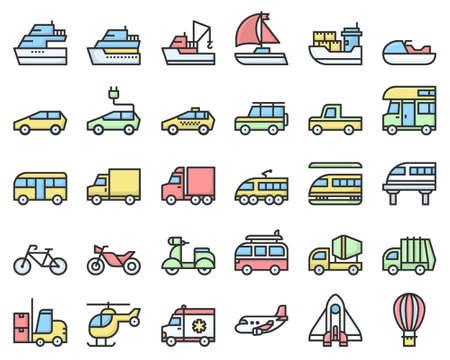 transport icons logo vector illustration