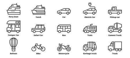 Transportation icons vector illustration , Car,  Motorcycle, Train,  Ferry boat,
