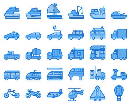 transport icons  blue two tone vector illustration , car, truck, boat, Vettoriali