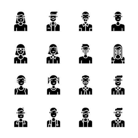 Avatar people icons vector , man, woman, boy