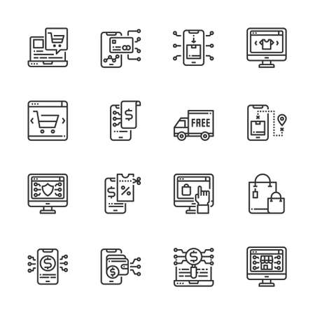 Simple Set of Online Shopping icons line Vector  Illustration, Coupon, Paymentm, Searching, Payment, Smartphone