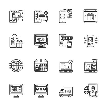 Simple Set of Online Shopping icons line Vector  Illustration, Sale, Business, Payment, Delivery, Wallet