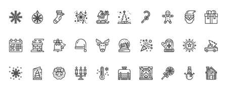 Simple Set of Christmas Icons Line Vector Illustration, snowflake, candy, sleigh, christmas day
