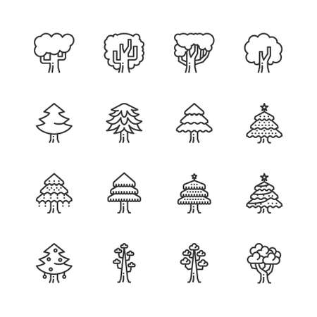Tree Line Icons Vector Illustration , ecology