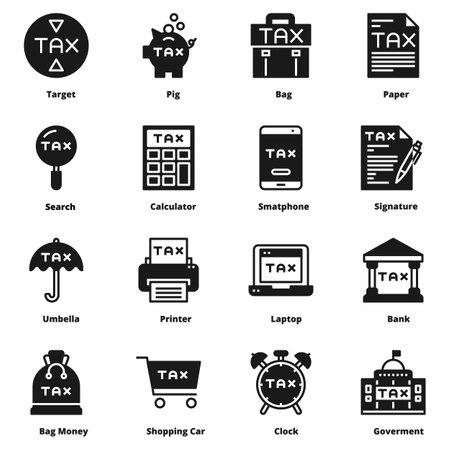 tax icon silhouette vector set Ilustração Vetorial