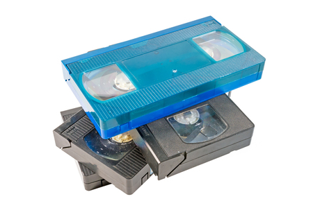 vdo: old video cassette on white background  Stock Photo
