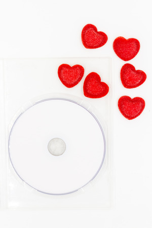 recordable: CD and red heart,love songs concept Stock Photo