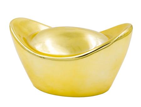ingot: Chinese gold ingot isolated on white background