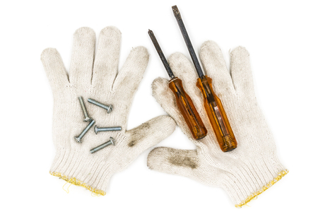 old tools: Old tools include Gloves, screwdrivers and nut