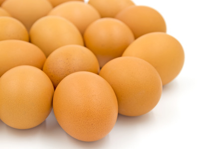 natural cock: Eggs isolated on white background.Selective focus Stock Photo