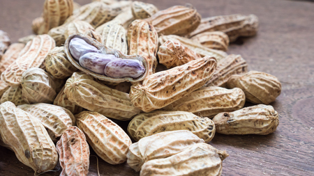 earthnut: Boiled Peanuts on wooden table background.Selective focus Stock Photo