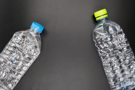 plastic waste: Empty plastic bottles are recyclable waste.